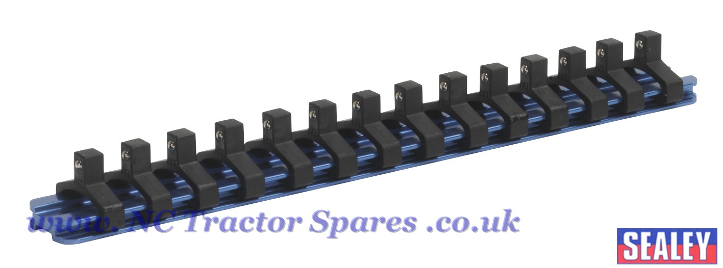 Socket Retaining Rail With 14 Clips Aluminium 1 4sq Drive