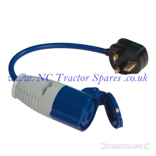 13A-16A Fly Lead Converter 13A plug to 16A socket (Silverline)