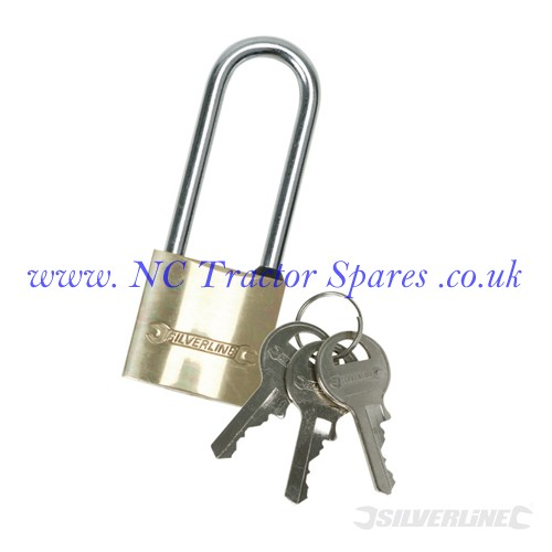 Brass Padlock Long Shackle. 40mm (Silverline)