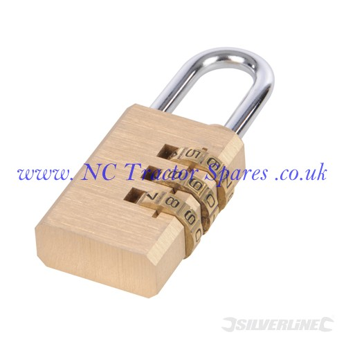 Combination Padlock Brass 3-digit (Silverline)