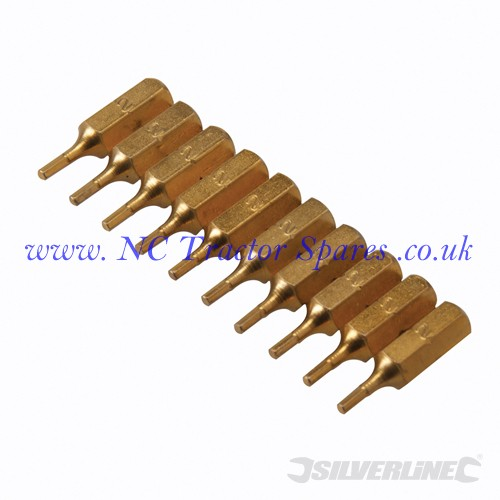 Hex Gold Screwdriver Bits 10pk 2mm (Silverline)
