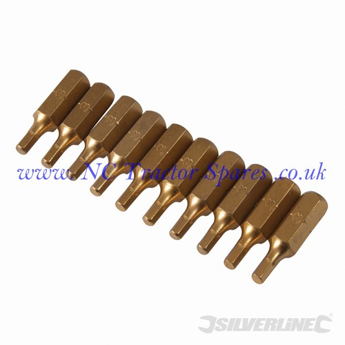 Hex Gold Screwdriver Bits 10pk 3mm (Silverline)