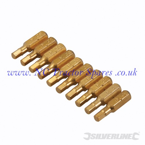 Hex Gold Screwdriver Bits 10pk 4mm (Silverline)