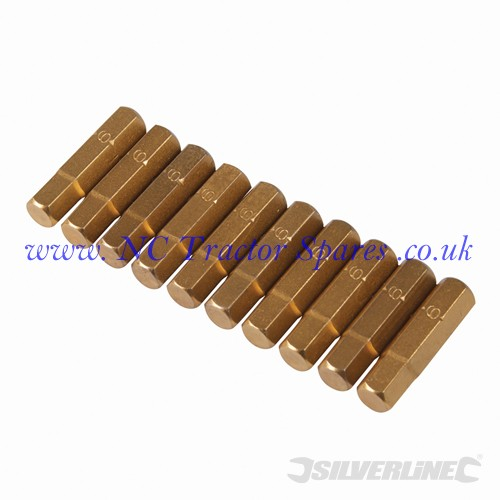 Hex Gold Screwdriver Bits 10pk 6mm (Silverline)
