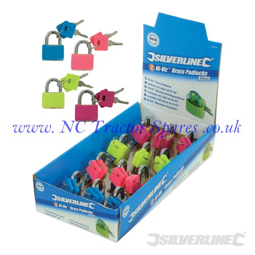Hi-Vis Brass Padlocks Display Box 12pce 30mm (Silverline)