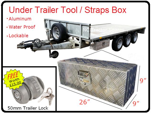 "Lockable Aluminium Checker Plate Trailer Toolbox 26"" x 9"" x 9"" KIT"