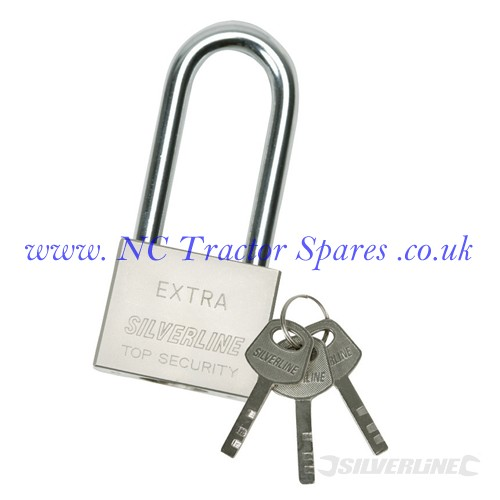 Long Shackle Steel Padlock 40mm (Silverline)