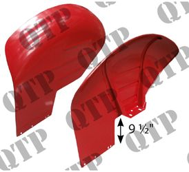 "Mudguard 35X 9 1/2"" Red c/w Weld Bracket PAIR"