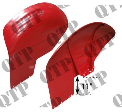 "Mudguard 65 11"" Red c/w Weld Bracket PAIR"