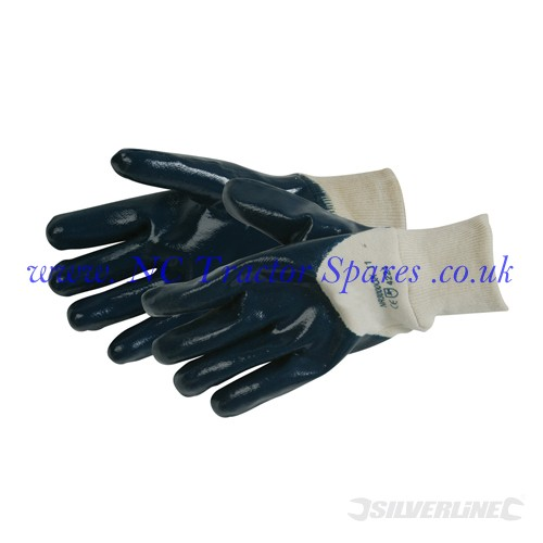 Open Back Jersey Lined Nitrile Gloves One Size (Silverline)