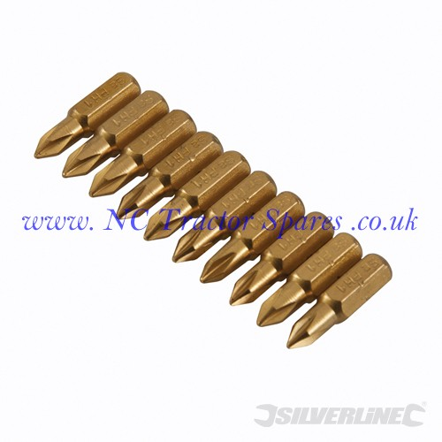 Phillips Gold Screwdriver Bits 10pk No.1 x 25mm (Silverline)