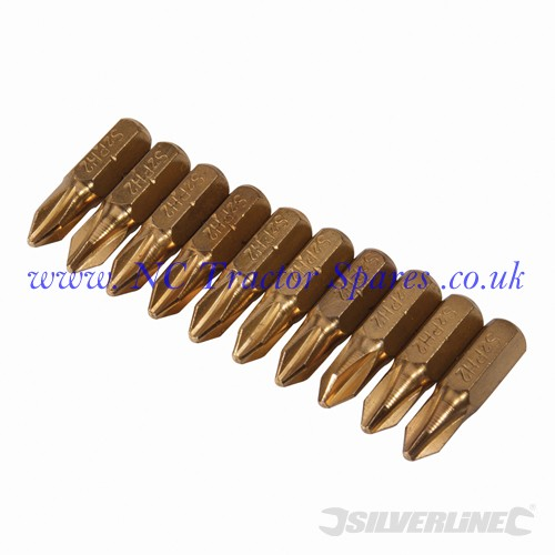 Phillips Gold Screwdriver Bits 10pk No.2 x 25mm (Silverline)