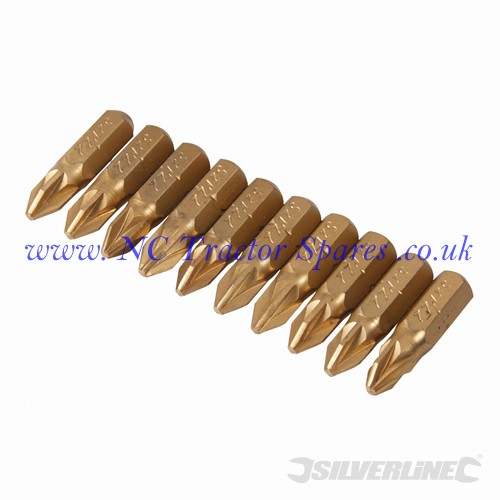 PZD Gold Screwdriver Bits 10pk No.2 (Silverline)