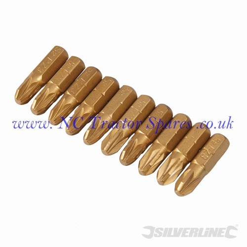PZD Gold Screwdriver Bits 10pk No.3 (Silverline)