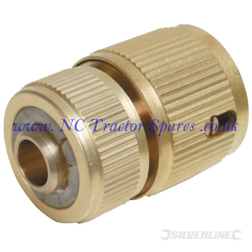 "Quick Connector Auto Stop Brass 1/2"" Female (Silverline)"