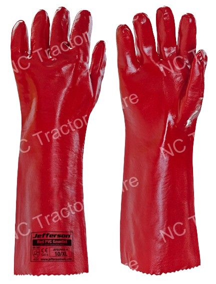 "Red PVC Gauntlet 14"" Safety Work Glove X Large"