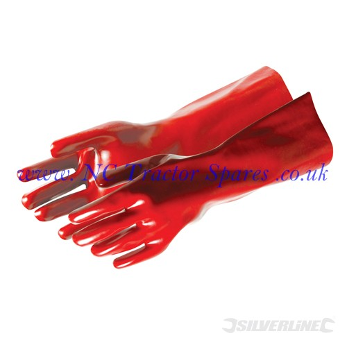 Red PVC Gauntlets One Size (Silverline)
