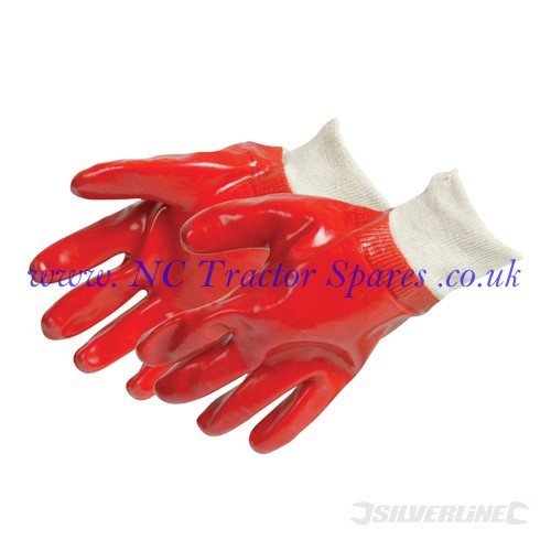 Red PVC Gloves One Size (Silverline)