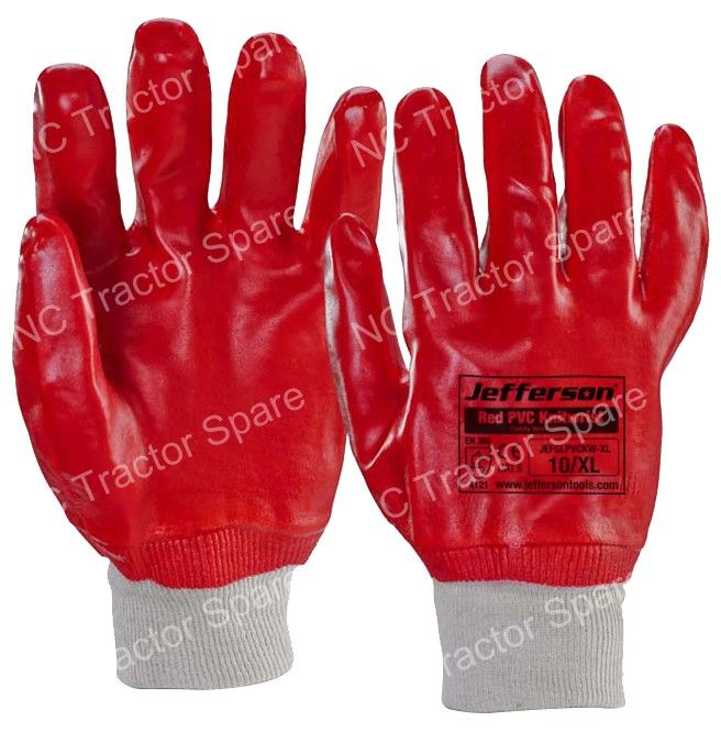 Red PVC Knitwrist Safety Work Glove X Large