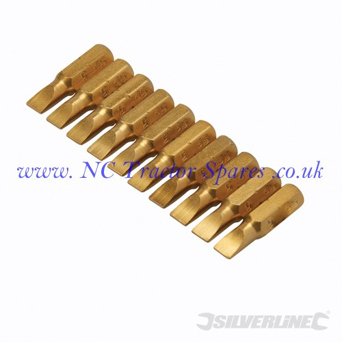 Slotted Gold Screwdriver Bits 10pk 5mm (Silverline)
