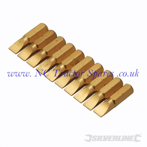 Slotted Gold Screwdriver Bits 10pk 6mm (Silverline)