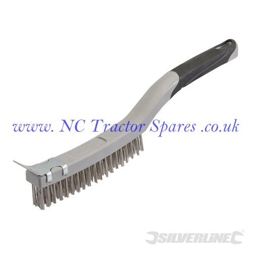 Stainless Steel Wire Brush with Scraper 3 Row (Silverline)