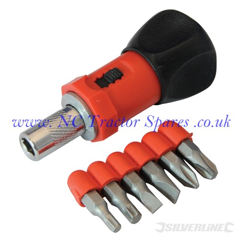 Stubby Ratchet Screwdriver & 6 Bit Set 80mm (Silverline)