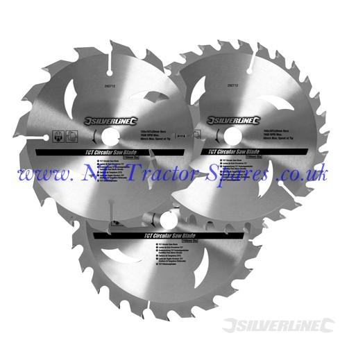 TCT Circular Saw Blades 16, 24, 30T 3pk 135 x 12.7 - 10mm ring (Silverline)