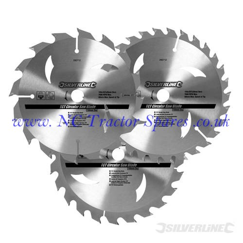 TCT Circular Saw Blades 16, 24, 30T 3pk 160 x 30 - 20, 16, 10mm rings (Silverline)