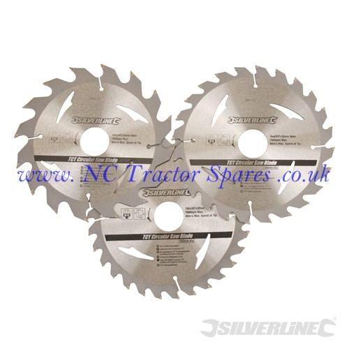 TCT Circular Saw Blades 16, 24, 30T 3pk 165 x 30 - 20, 16, 10mm rings (Silverline)