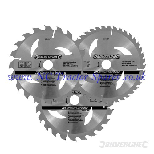 TCT Circular Saw Blades 20, 24, 40T 3pk 180 x 30 - 20, 16mm rings (Silverline)