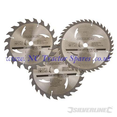 TCT Circular Saw Blades 20, 24, 40T 3pk 190 x 16 - no ring (Silverline)