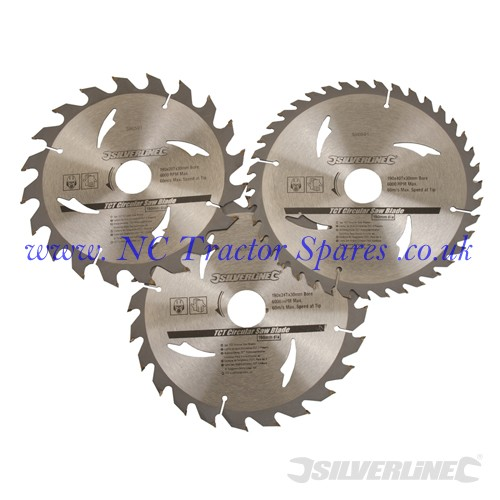 TCT Circular Saw Blades 20, 24, 40T 3pk 190 x 30 - 25, 20mm rings (Silverline)