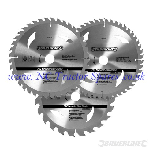 TCT Circular Saw Blades 24, 40, 48T 3pk 200 x 30 - 25, 18, 16mm rings (Silverline)