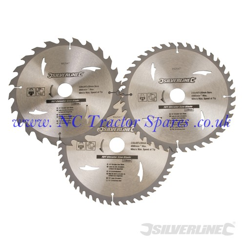 TCT Circular Saw Blades 24, 40, 48T 3pk 230 x 30 - 25, 20, 16mm rings (Silverline)
