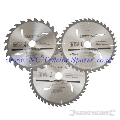 TCT Circular Saw Blades 24, 40, 48T 3pk 235 x 30 - 25, 16mm rings (Silverline)