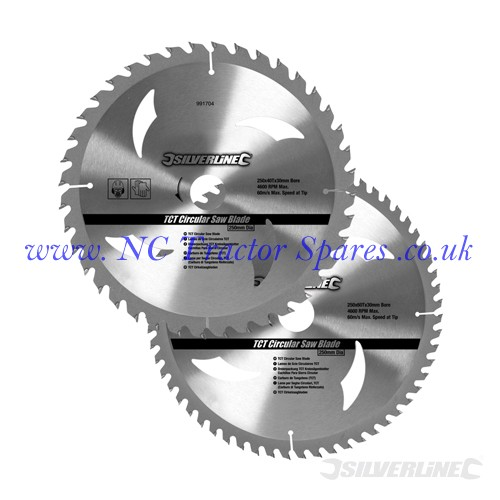 TCT Circular Saw Blades 40, 60T 2pk 250 x 30 - 25, 20, 16mm rings (Silverline)