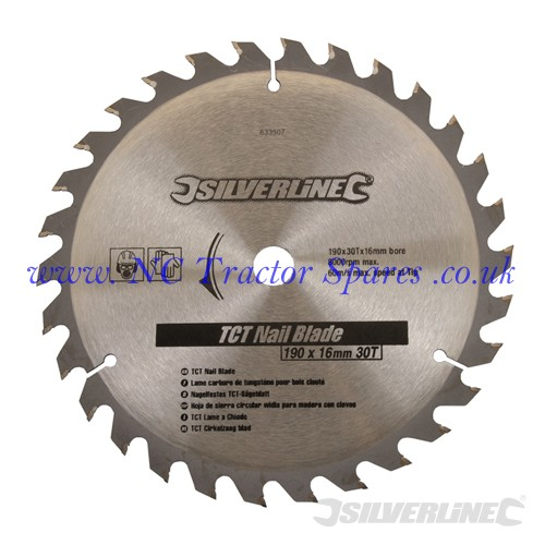 TCT Nail Blade 30T 190 x 16 - no rings (Silverline)