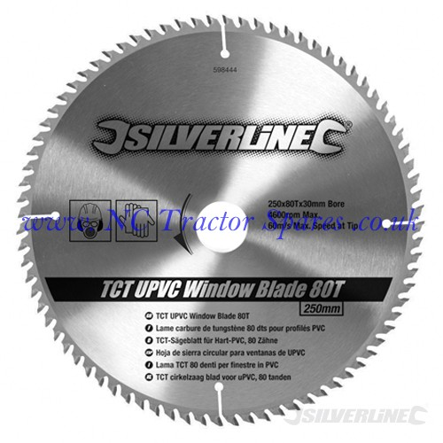 TCT UPVC Window Blade 80T 250 x 30 - 25, 20, 16mm rings (Silverline)