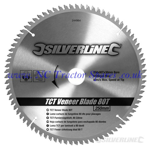 TCT Veneer Blade 80T 250 x 30 - 25, 20, 16mm rings (Silverline)