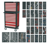 Topchest & Rollcab Combination 14 Drawer with 1231pc Tool Kit