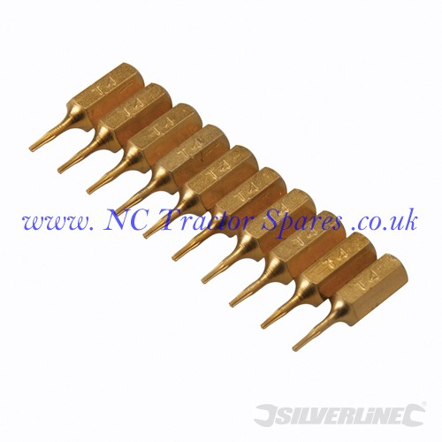 Torx Gold Screwdriver Bits 10pk T4 (Silverline)